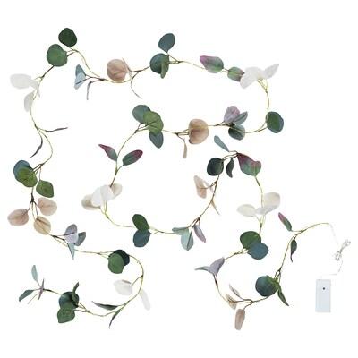 HÖSTPROMENAD Guirnalda LED 40 bombillas, a pilas/eucalipto verde