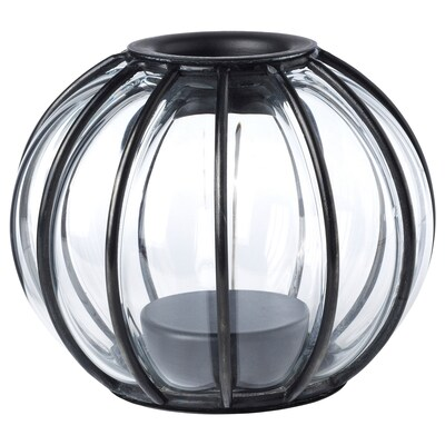 HÖSTPROMENAD Portavela, vidrio incoloro/negro, 12 cm