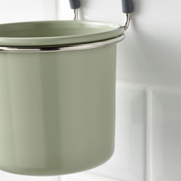HULTARP Recipiente, verde/niquelado, 14x16 cm