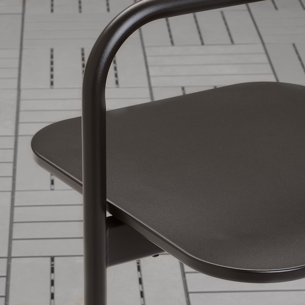 HUSARÖ Mesa auxiliar ext, gris oscuro, 49x49 cm