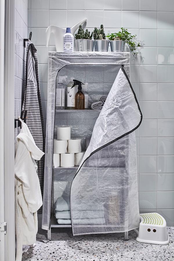 HYLLIS Estantería con funda, transparente, 60x27x140 cm IKEA