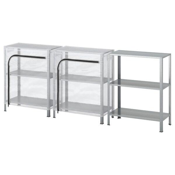 HYLLIS Estanterías con fundas, transparente, 180x27x74 cm IKEA