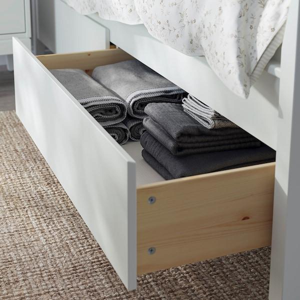 IDANÄS Estructura de cama con almacenaje, blanco/Lönset, 180x200 cm