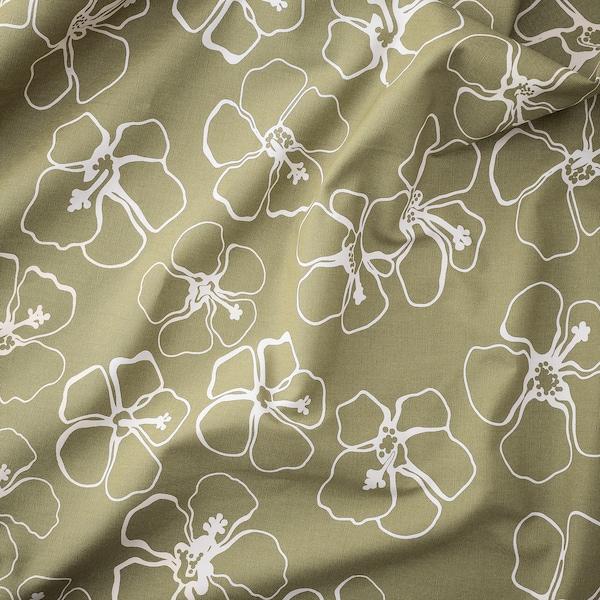 IDASARA Tela por metros, verde natural/flor, 150 cm