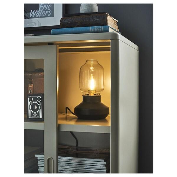 IDÅSEN Armario+puertas correderas vidrio, beige, 120x140 cm