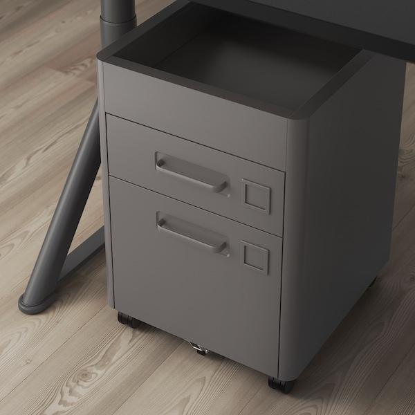IDÅSEN Cajonera con cierre, gris oscuro, 42x61 cm