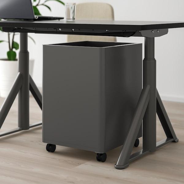 IDÅSEN Cajonera con ruedas, gris oscuro, 42x61 cm