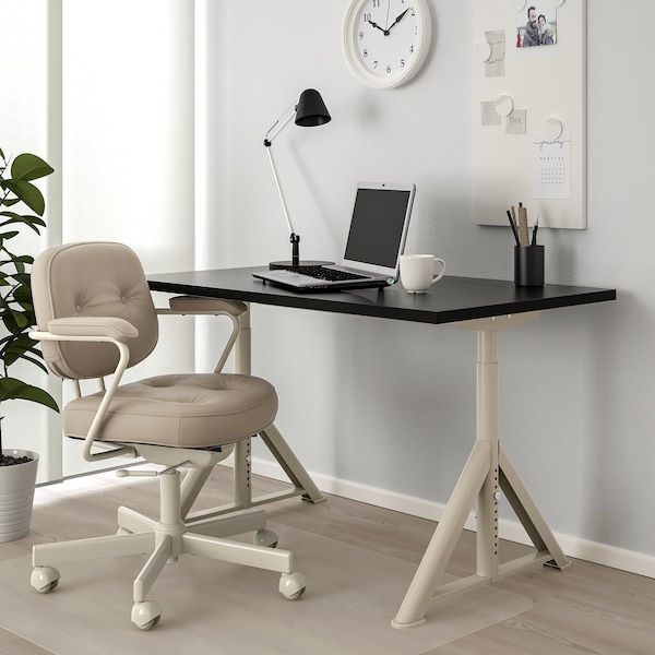 IDÅSEN Escritorio, negro/beige, 120x70 cm