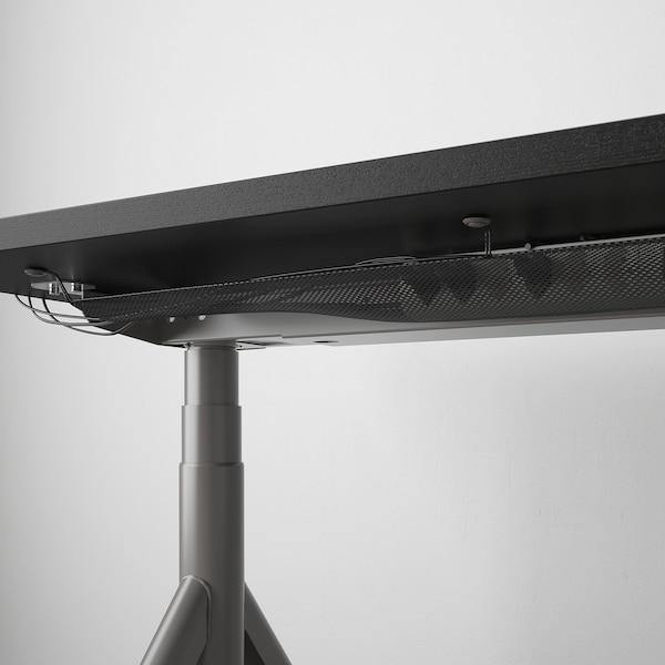 IDÅSEN Escritorio sentado/de pie, negro/gris oscuro, 160x80 cm
