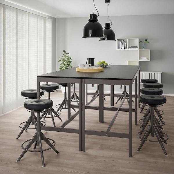 IDÅSEN Mesa, negro/gris oscuro, 140x70x105 cm