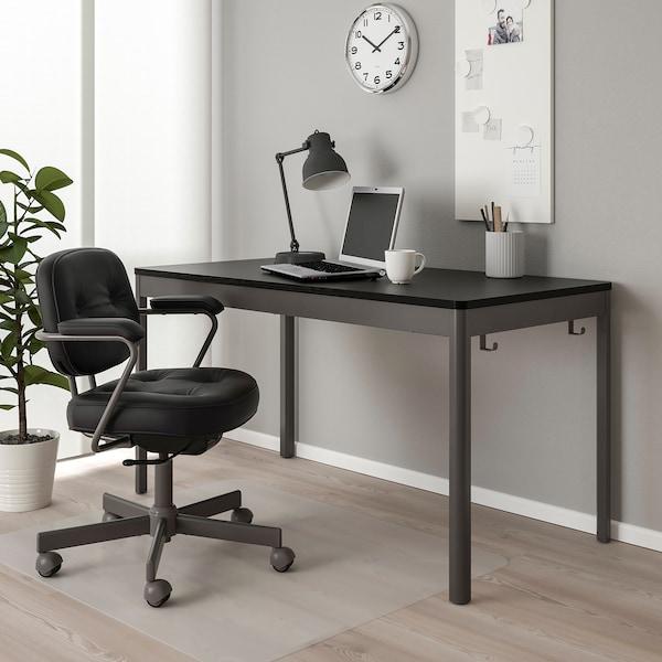 IDÅSEN Mesa, negro/gris oscuro, 140x70x75 cm
