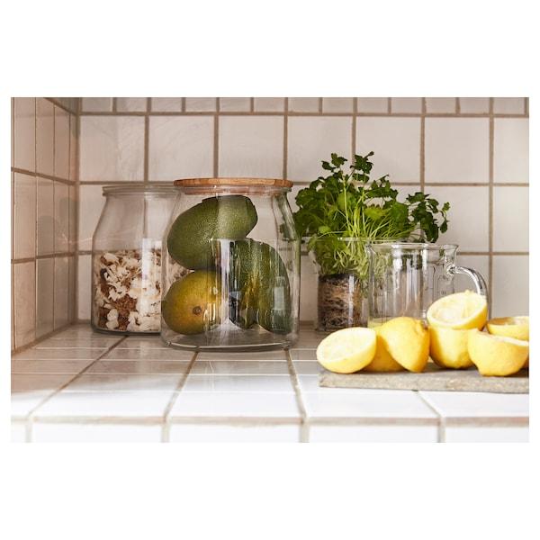 IKEA 365+ Bote con tapa, vidrio/bambú, 3.3 l