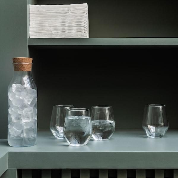 IKEA 365+ Botella+tapón, vidrio incoloro/corcho, 1 l
