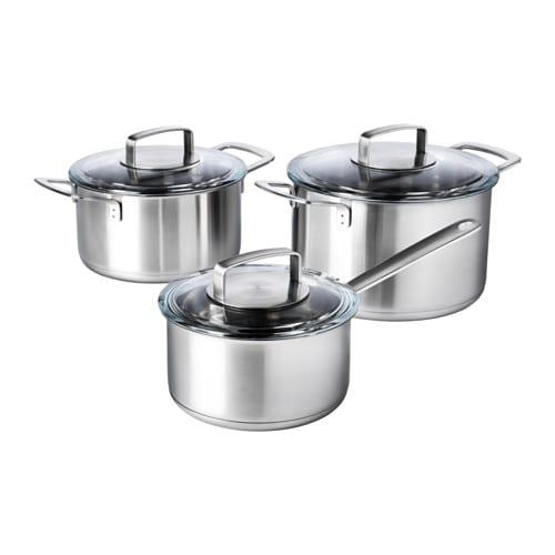 IKEA 365+ - Ollas + tapas, 6 piezas, acero inox, vidrio
