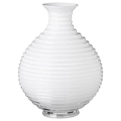 INBJUDEN Florero / jarrón, vidrio blanco, 20 cm