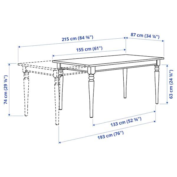 INGATORP / INGOLF Mesa y 6 sillas, blanco/Nordvalla beige, 155/215 cm