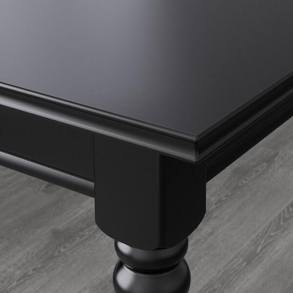 INGATORP / INGOLF Mesa y 6 sillas, negro/Inseros blanco, 155/215x87 cm