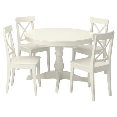 INGATORP / INGOLF Mesa con 4 sillas, blanco/blanco, 110/155 cm