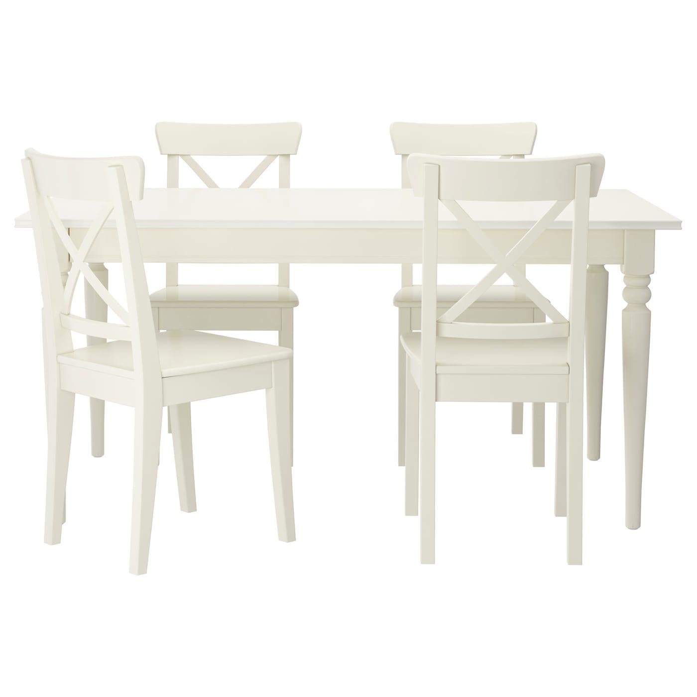 Ingatorp Ingolf Mesa Con 4 Sillas Blanco 155 Cm Ikea