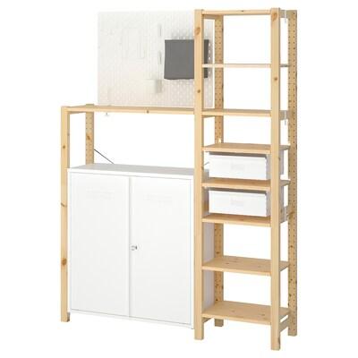 IVAR 2 secciones/baldas/armario, pino/blanco, 134x30x179 cm