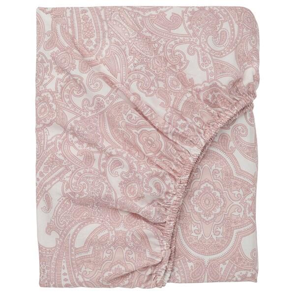 JÄTTEVALLMO sábana bajera ajustable blanco/rosa 200 cm 90 cm