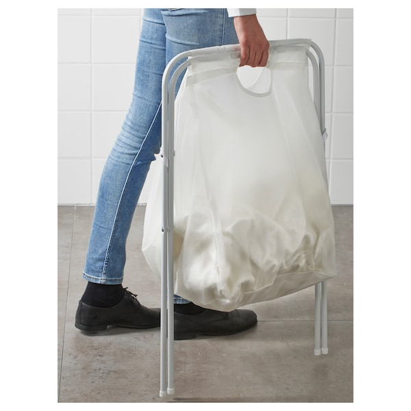 JÄLL Bolsa de ropa c/soporte, blanco, 70 l