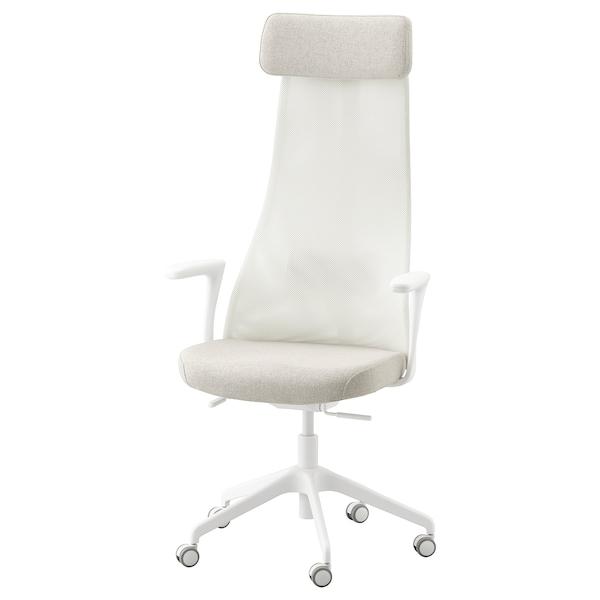 JÄRVFJÄLLET Silla de trabajo con reposabrazos, Gunnared beige/blanco