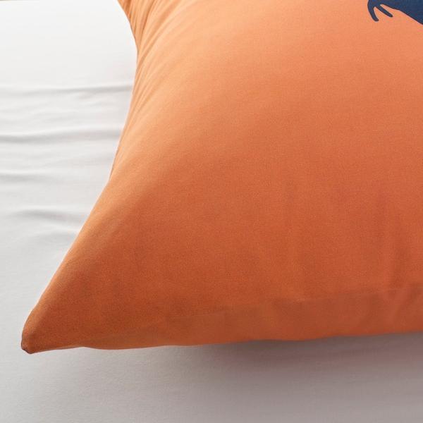 JÄTTELIK Funda nórdica +funda almohada, dinosaurio al amanecer naranja/azul, 150x200/50x60 cm