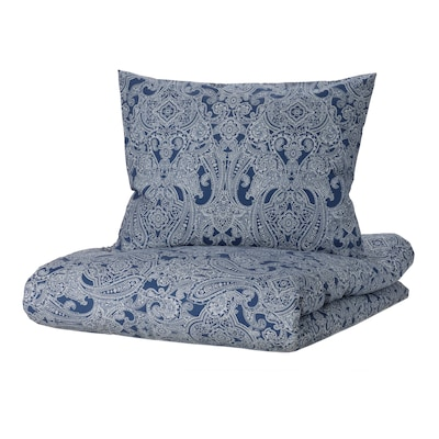 JÄTTEVALLMO Funda nórdica +2 fundas almohada, azul oscuro/blanco, 240x220/50x60 cm