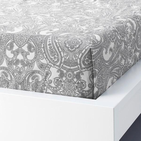 JÄTTEVALLMO Sábana, blanco/gris, 240x260 cm