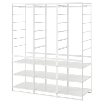JONAXEL Estructura+barra+estantería, blanco, 148x51x173 cm