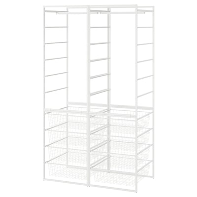JONAXEL Estructura+cesto rejilla+barras, blanco, 99x51x173 cm