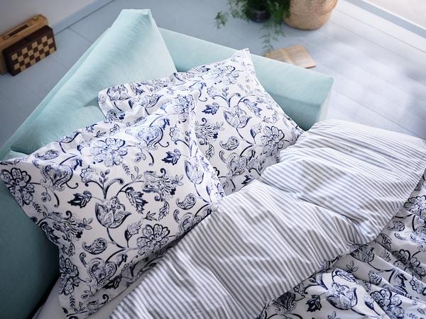 JUNIMAGNOLIA Funda nórdica +2 fundas almohada, blanco/azul oscuro, 240x220/50x60 cm