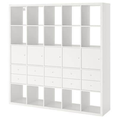 KALLAX Estantería +10 accesorios, blanco, 182x182 cm