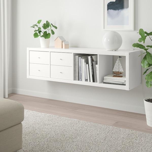 KALLAX Estantería+2 accesorios, blanco, 42x147 cm