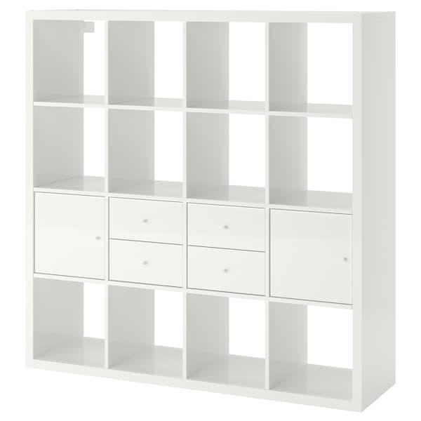 KALLAX Estantería con accesorios, alto brillo/blanco, 147x147 cm
