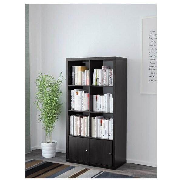 KALLAX Estantería con puertas, negro marrón, 77x147 cm IKEA