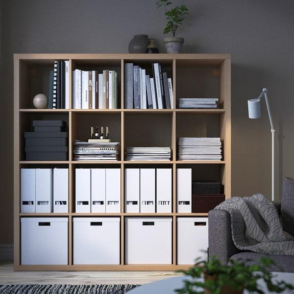 KALLAX Estantería, efecto roble tinte blanco, 147x147 cm