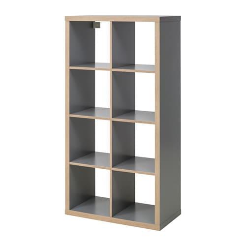 Kallax estanter a gris efecto madera ikea - Muebles estanterias modulares ...
