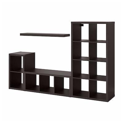 KALLAX / LACK Comb almacenaje con balda, negro-marrón, 231x39x147 cm