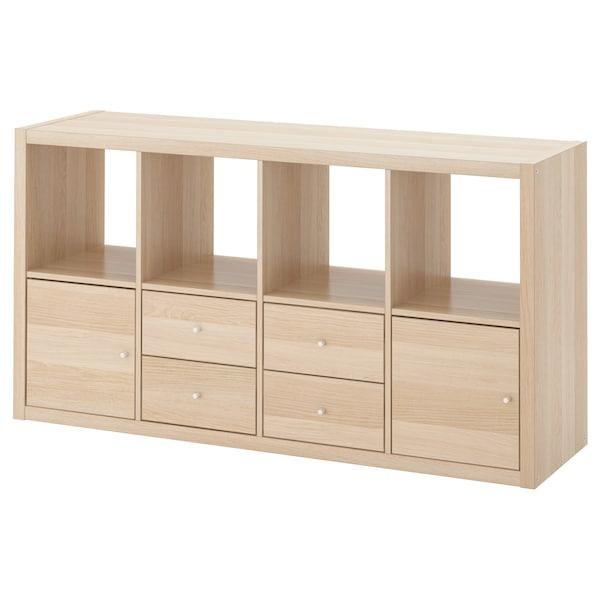 Kallax Estanteria Con Accesorios Efecto Roble Tinte Blanco Ikea