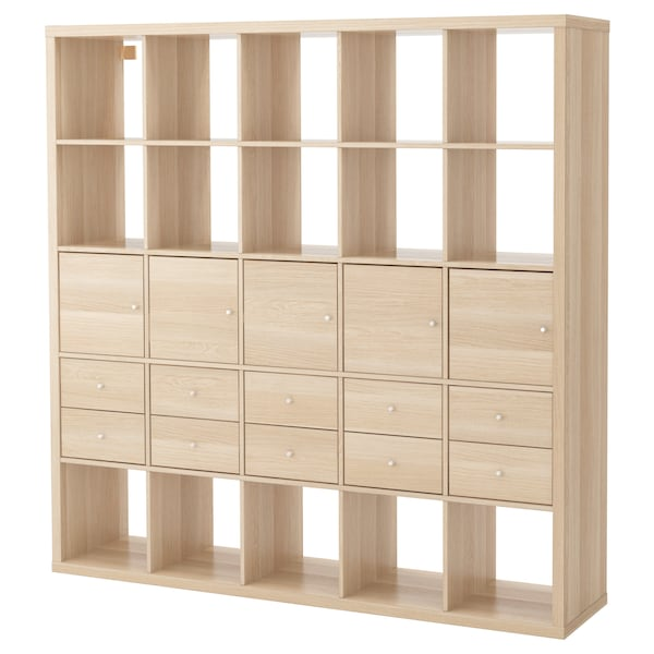 Kallax Estanteria 10 Accesorios Efecto Roble Tinte Blanco Ikea