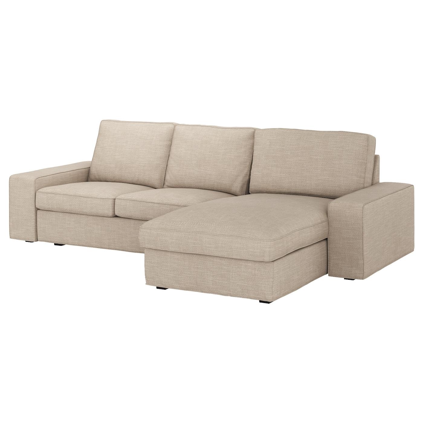 KIVIK Sofá 3 plazas, +chaiselongue/Hillared beige - IKEA