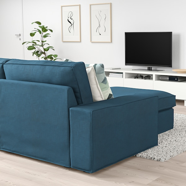 KIVIK Sofá 3 plazas, +chaiselongue/Hillared azul oscuro