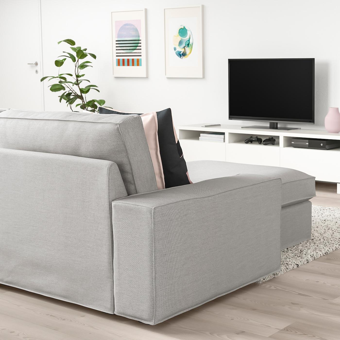 KIVIK Sofá 4 plazas +chaiselongueOrrsta gris claro