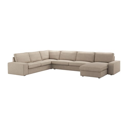 Kivik sof de esquina 6 chaiselongue hillared beige ikea - Sofas de esquina ...