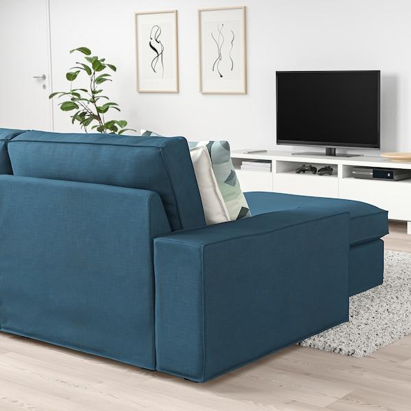 KIVIK Sofá de esquina 6, +chaiselongue/Hillared azul oscuro