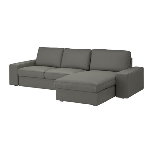 Sofá 3 plazas, +chaiselongue Borred, Borred verde grisáceo - IKEA