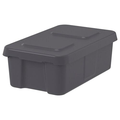 KLÄMTARE caja con tapa int/ext gris oscuro 58 cm 45 cm 30 cm