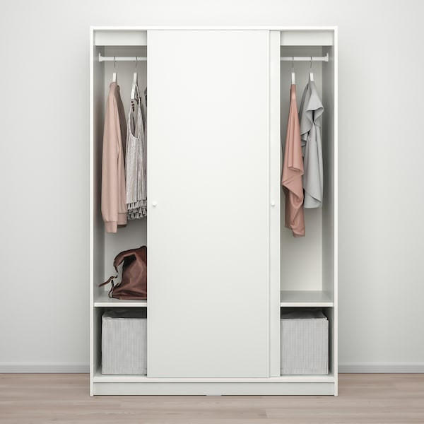 KLEPPSTAD Armario para dormitorio nórdico de ikea con puertas correderas, blanco117x176 cm